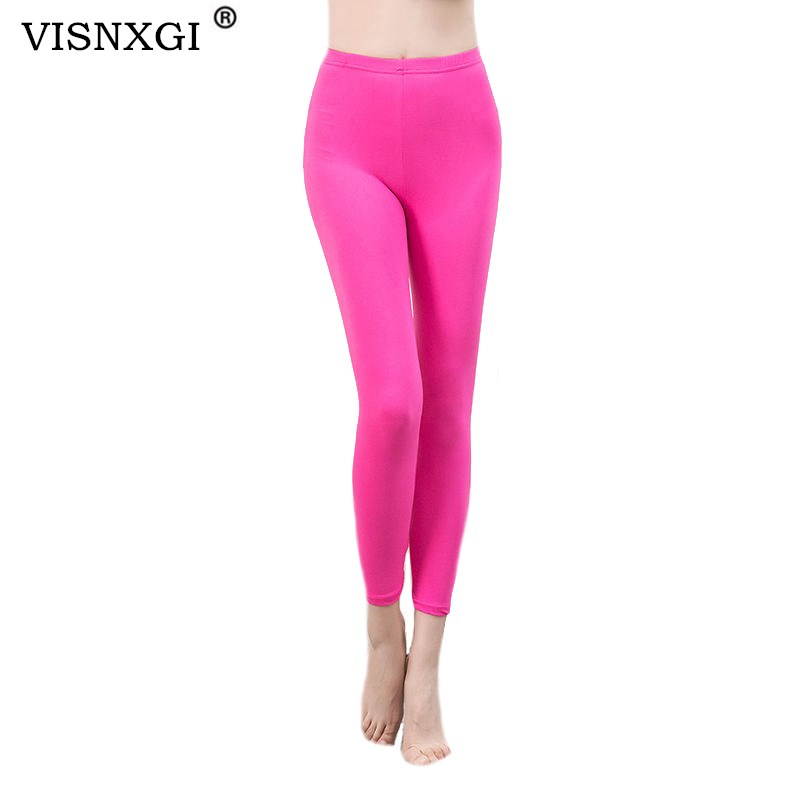 VISNXGI Candy Colors Solid Fluorescent Leggings Women Casual Fitness Multicolor Push Up Legging Female Solid Elastic Trousers