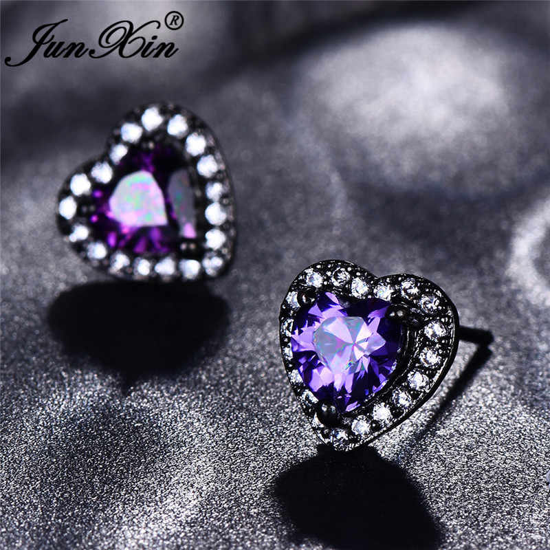 JUNXIN Female Rainbow Fire Opal Stud Earrings For Women Black/Rose Gold Purple Green Blue Zircon Birthstone Heart Earrings Gifts