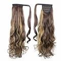 Синтетические волосы переплетения жаропрочных блондинка коричневый женщин парики расширения Поддельные хвостик волосы дешевой цене конский хвост волосы кусок