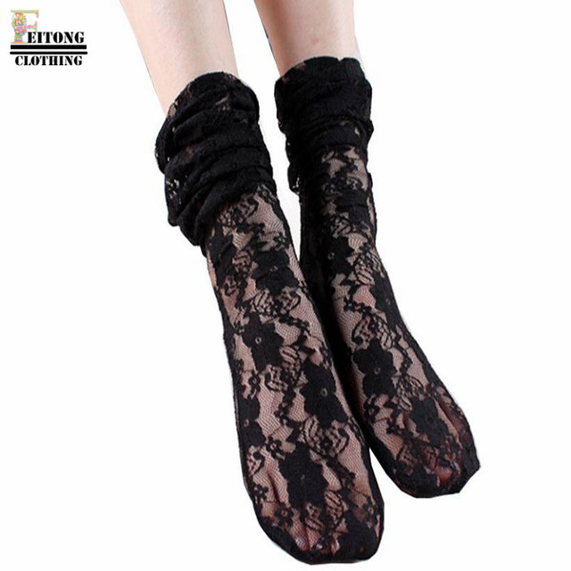 0b2b9e1ff5 FEITONG Women Sexy Floral Lace Fishnet Plain Top Ankle Short Socks Stylish  Invisible Skidproof Lace Ankle Heal Short Cotton Sock-in Socks from Women's  ...