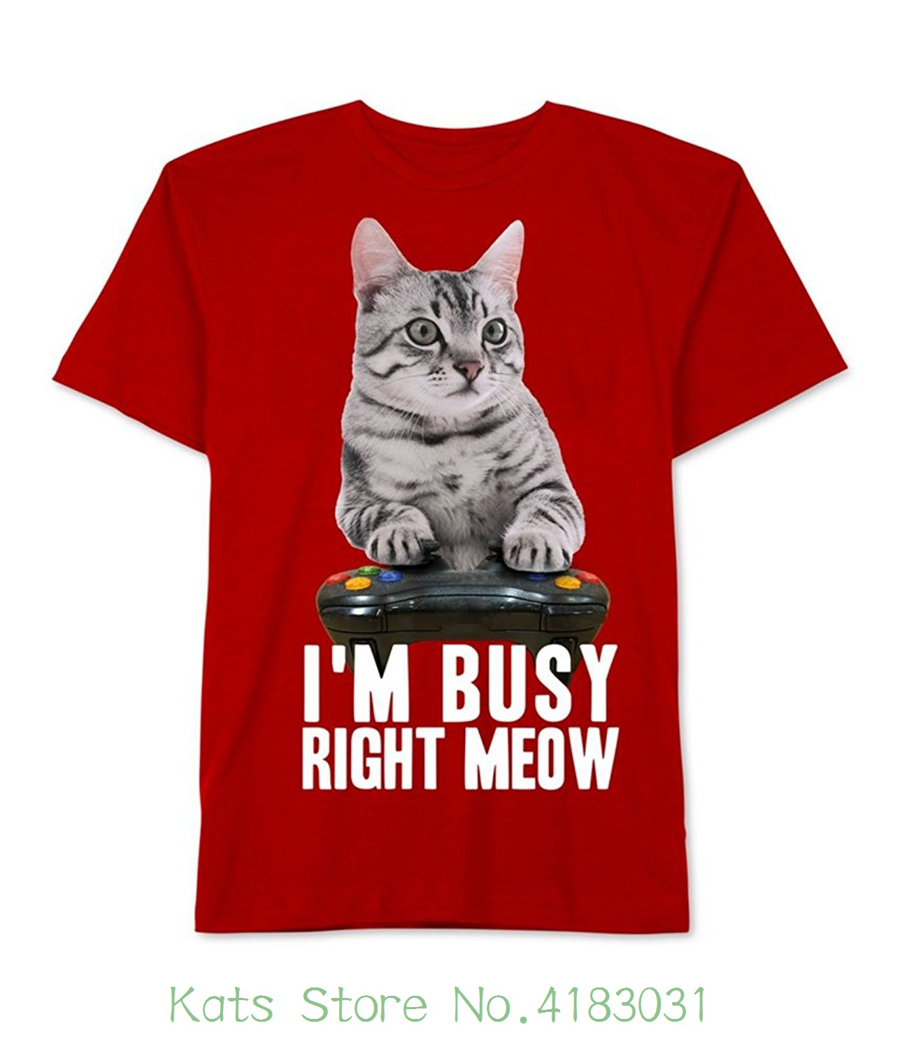 Jem Collective Little Boys Short Sleeve Im Busy Right Meow Gaming Tee Summer Man T-shirt Tops Tees New