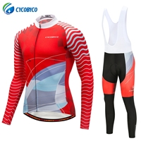 Cycobyco Long Sleeve Cycling Jersey Sets Bicycle Clothing Mans Racing Bike Wear Quick dry Maillot Ropa Ciclismo Red Technology