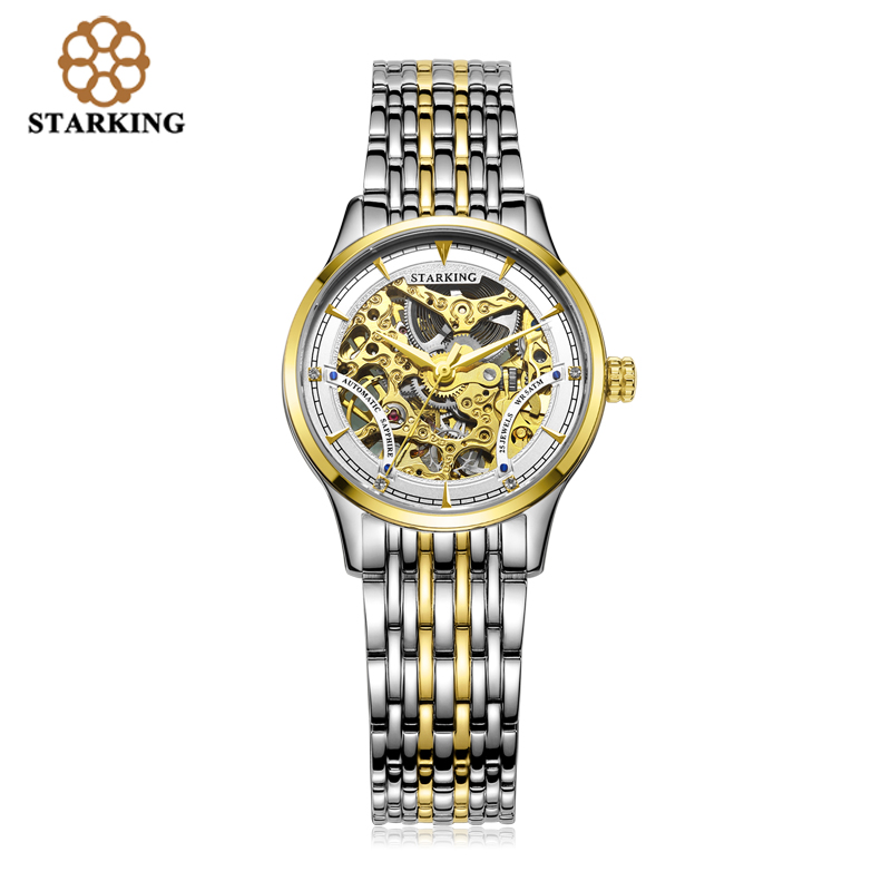 ФОТО STARKING Women Two Tone Gold Case Automatic Skeleton Stainless Steel Wristwatches AL00185
