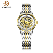 STARKING Women Two Tone Gold Case Automatic Skeleton Stainless Steel Wristwatches AL00185