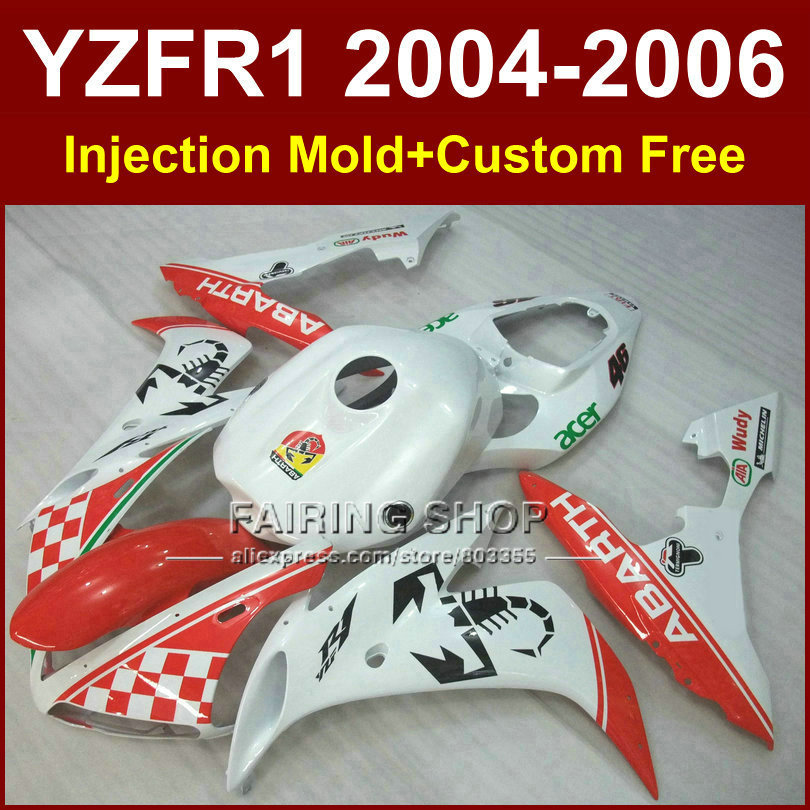 On sale! motorcycle Injection mold fairings for YAMAHA R1 2004 2005 2006 YZF R1 YZF1000 04 05 06 white Scorpion bod fairing kits mfs motor motorcycle part front rear brake discs rotor for yamaha yzf r6 2003 2004 2005 yzfr6 03 04 05 gold