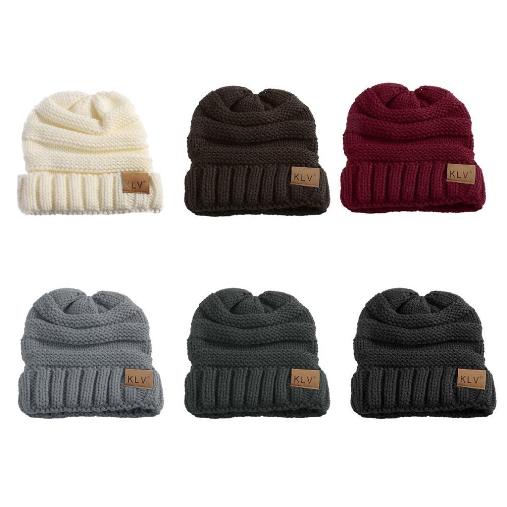 KLV Children Winter Hats White Color Woolen Knitted Unisex Kid Warm ...
