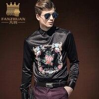 מותגים נבחרים FANZHUAN מותג יוקרה בגדי חולצות לגברים 2017 אופנה מודפסת Slim שרוול ארוך חולצות Homme תחתונית