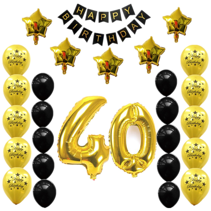 28pcs 30 40 50 60 70th Birthday Party Decors Number Foil Balloons Happy Banner Anniversary Decorations