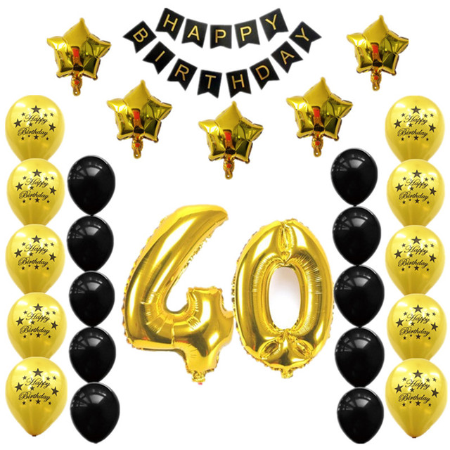 28pcs 30 40 50 60 70th Birthday Party Decors Number Foil Balloons