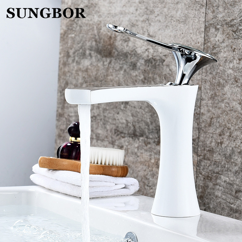 Modern Bathroom Basin Faucet White Black Paint Baked Chrome Finish Single Handle Hot Cold Water Vessel Sink Tap Faucets AL-7813H bathroom basin faucet heighten solid brass chrome black baked single handle vessel sink hot and cold water tap mixers