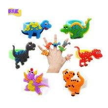 6pcs Hot environmentally friendly dinosaur ring cartoon PVC childrens jewelry