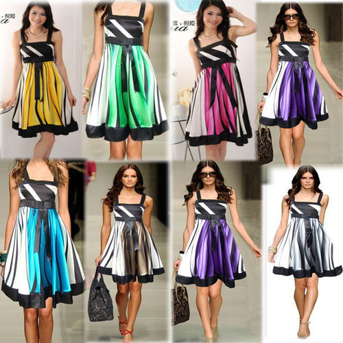 Fashion Women Elegant Spaghetti Strap Empire Waist Striped Stretchy Cute Casual Evening Party Satin Dress Plus