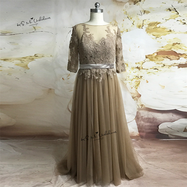 Plus Size Formal Brown Lace Evening Party Dresses Long Half Sleeve