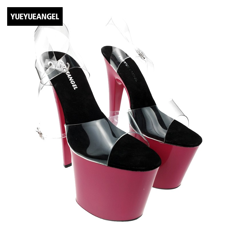 Sexy Womens Super High Heels Platform Sandals Ladies Nightclub Ankle Strap Pole Dance Shoes Euro Transparent