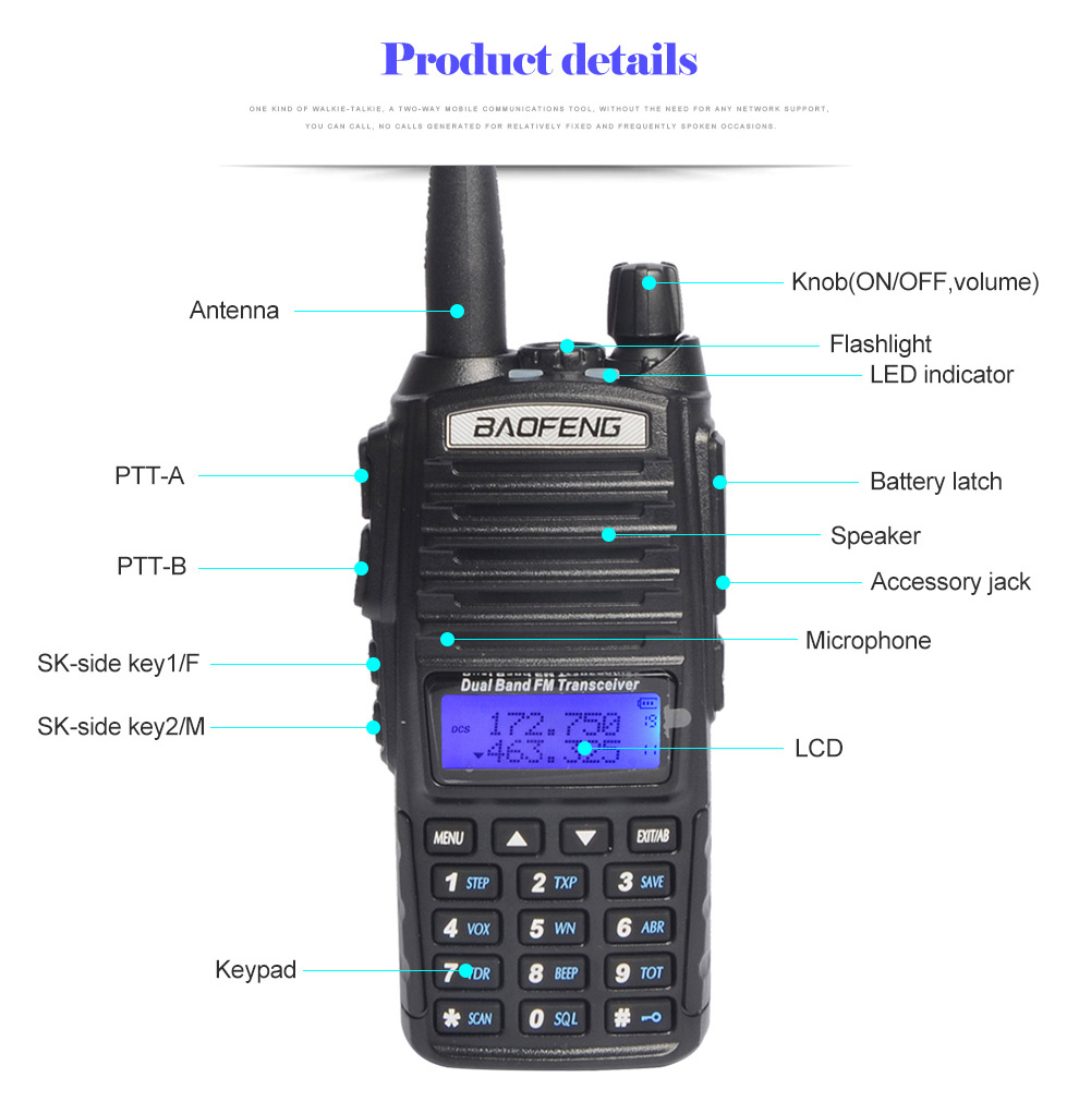 Image 3 - baofeng uv 82 walkie talkie 136 174MHZ and 400 520MHZ (TX/RX) dual PTT  FM Ham Two way Radio Transceiver, walkie talkie-in Walkie Talkie from Cellphones & Telecommunications