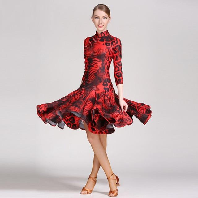 963d4e1d783 Leopard lateinamerikanischen dance kleider frauen kleid latin modern dance  kostüm sexy tango tanzkleid latino frauen salsa