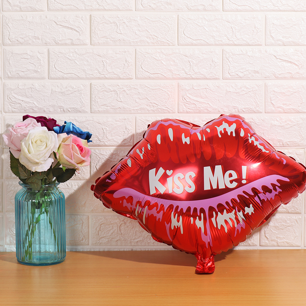 Decor  Gifts Helium Balaos Pink heart  Love Letter Red Lips Foil Balloon