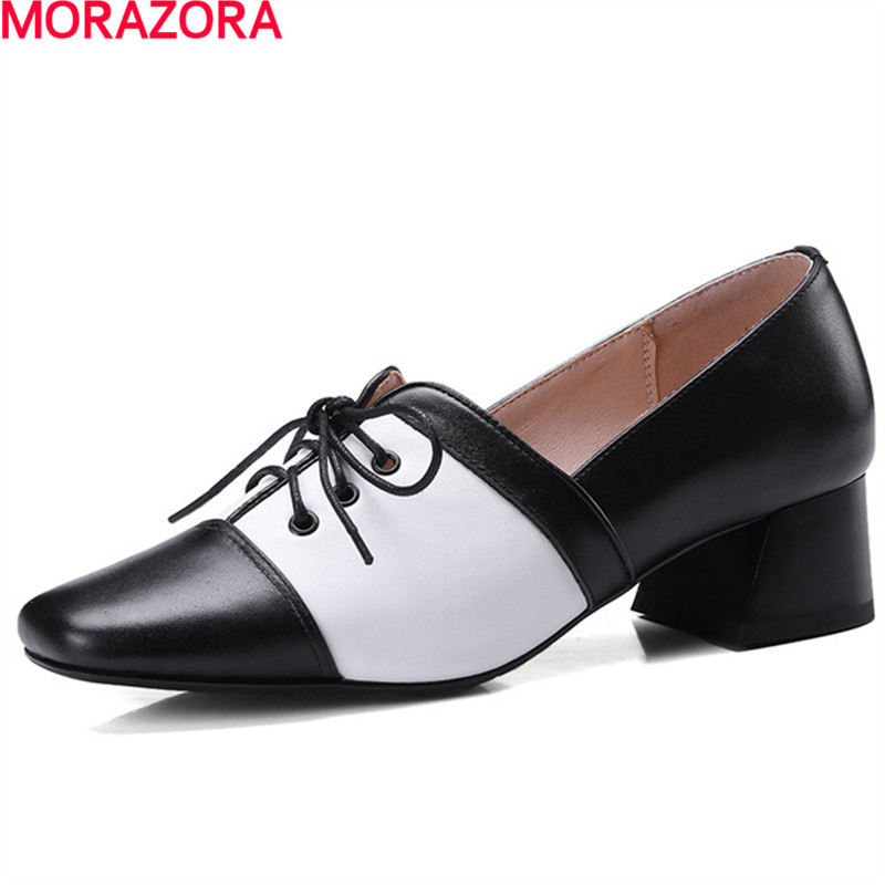 MORAZORA new arrival hot sale square toe platform shoes leisure lace up low women shoes PU+cow leather single shoes size 34-39 qmn women genuine leather platform flats women lace cut glossy leather square toe brogue shoes woman lace up leisure shoes 34 39