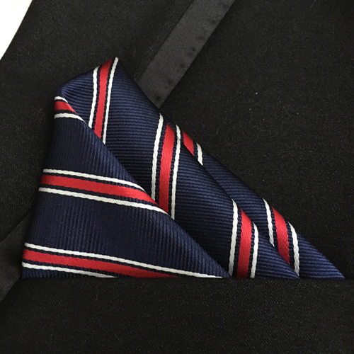 Fashion Pocket Square Navy Blue With White & Red Stripes Handkerchief