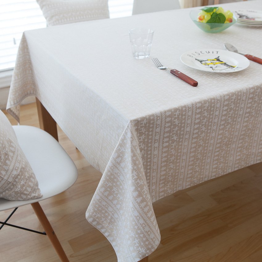 Linen Table Cloth White Deer American Style Printed Christmas Tablecloth Nappe Table Covers Manteles Para Mesa Toalha De Mesa image