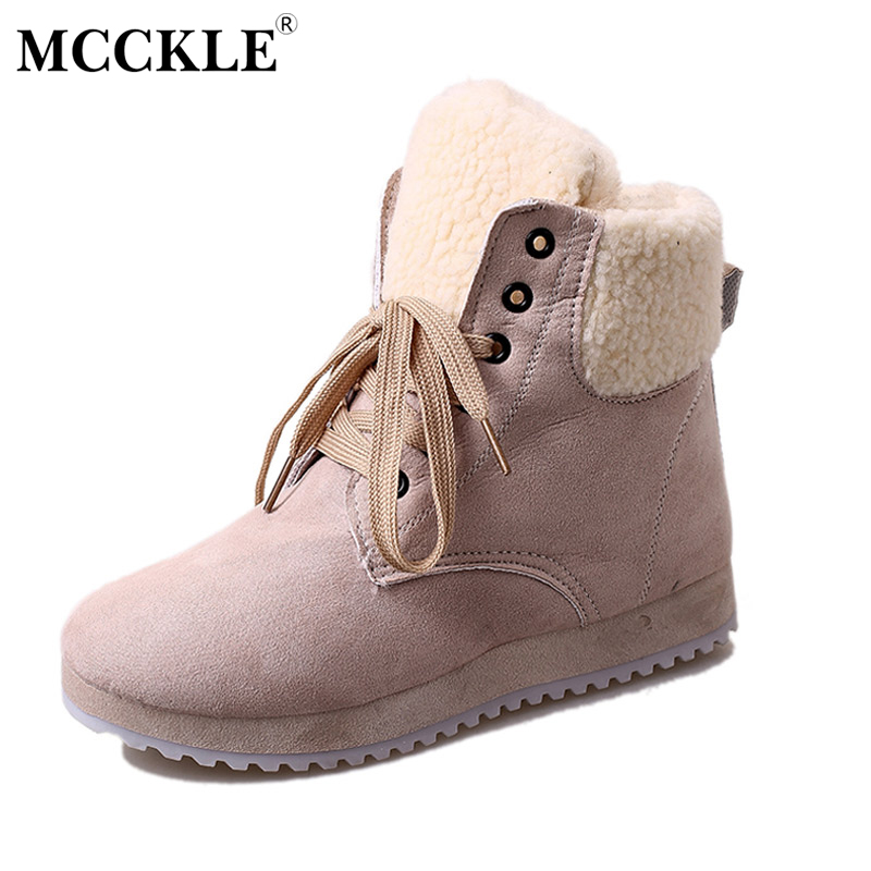 MCCKLE Ladies Warm Plush Winter Ankle Snow Boots 2017 Woman Fashion Lace Up Suede Platform Casual Fur High Quality Black Botas 2016 rhinestone sheepskin women snow boots with fur flat platform ankle winter boots ladies australia boots bottine femme botas