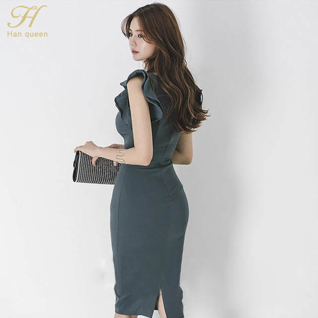 H Han Queen New Summer Women Vintage Sexy V-neck Sleeveless Work Business Office Party Bodycon Pencil Sheath Dress 6