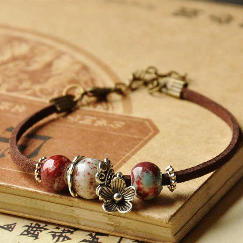 Leather Bracelets Ceramic Beads Charm Women Men Flower Cuff Bangles Link Chain Wristband Adjustable Jewelry Accessories