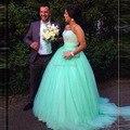 Vestidos de baile Longo Verde da Hortelã Vestidos Quinceanera Lantejoulas Frisado Querida Pavimento Length Corpete Espartilho 15 Anos Vestido