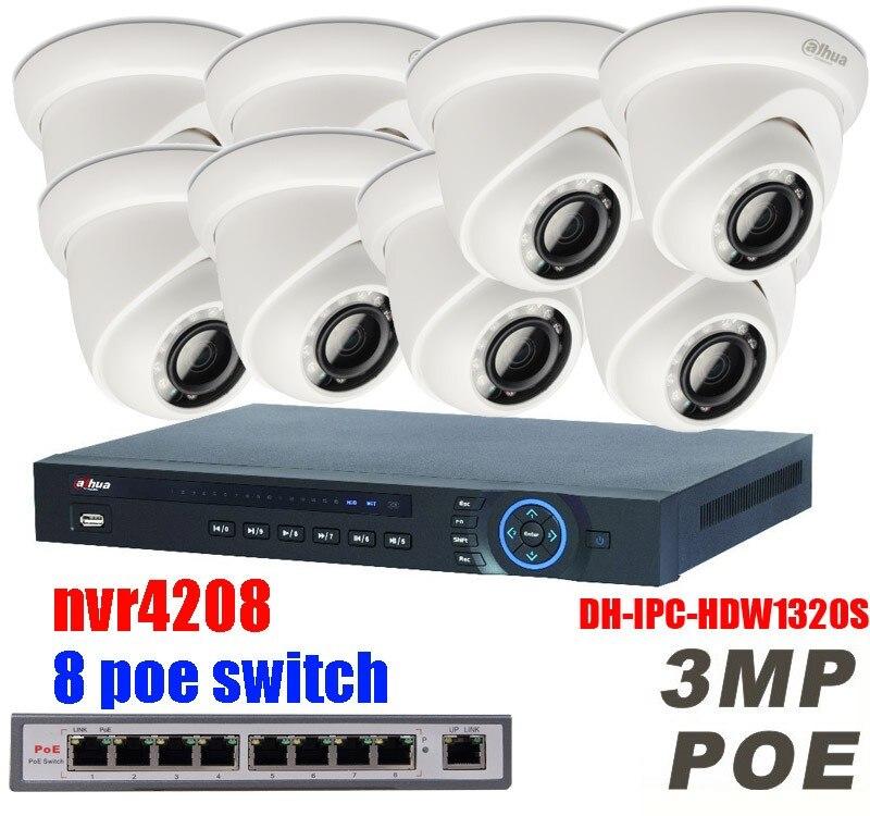 Dahua HD 1080P PoE 8PCS 3MP IPC-HDW1320S IP Network CCTV Home Security Camera System 8CH HDMI NVR4208 Surveillance Kits