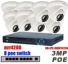 Dahua HD 1080P PoE 8PCS 3MP IPC-HDW1320S IP Network CCTV Home Security Camera System 8CH HDMI NVR4208 Surveillance Kits
