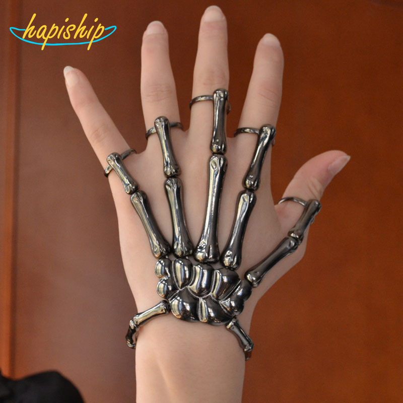 2015 New Hot Sell Fashion Style Black Halloween Hand Skull Elastic Bracelet Bangle Rings RCH Free