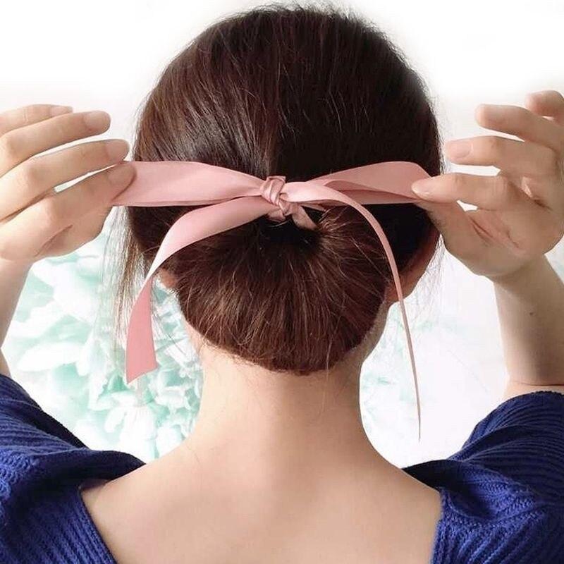 新しいかわいいデザイナー弓ヘアアクセサリーシュシュシルクヘアバンドクイックメッシードーナツおだんご髪型(