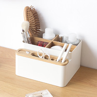 Plastic Makeup Organizer Bamboo Storage Box Cosmetics Skin Care Desk Containers Jewelry Trinket Boxs Sundries Storage Drawer