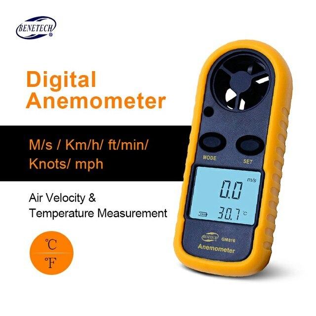BENETECH GM816 Dijital LCD CFM/CMM Termo Anemometre + Kızılötesi Termometre Rüzgar Hızı Ölçer Ölçer Sıcaklık