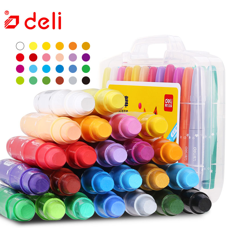 Deli 12/24/36 Color Wax Crayon Soft Oil Pastel Painting Chalk Pastels Candy Color Art Drawing Set Crayon Student Stationery