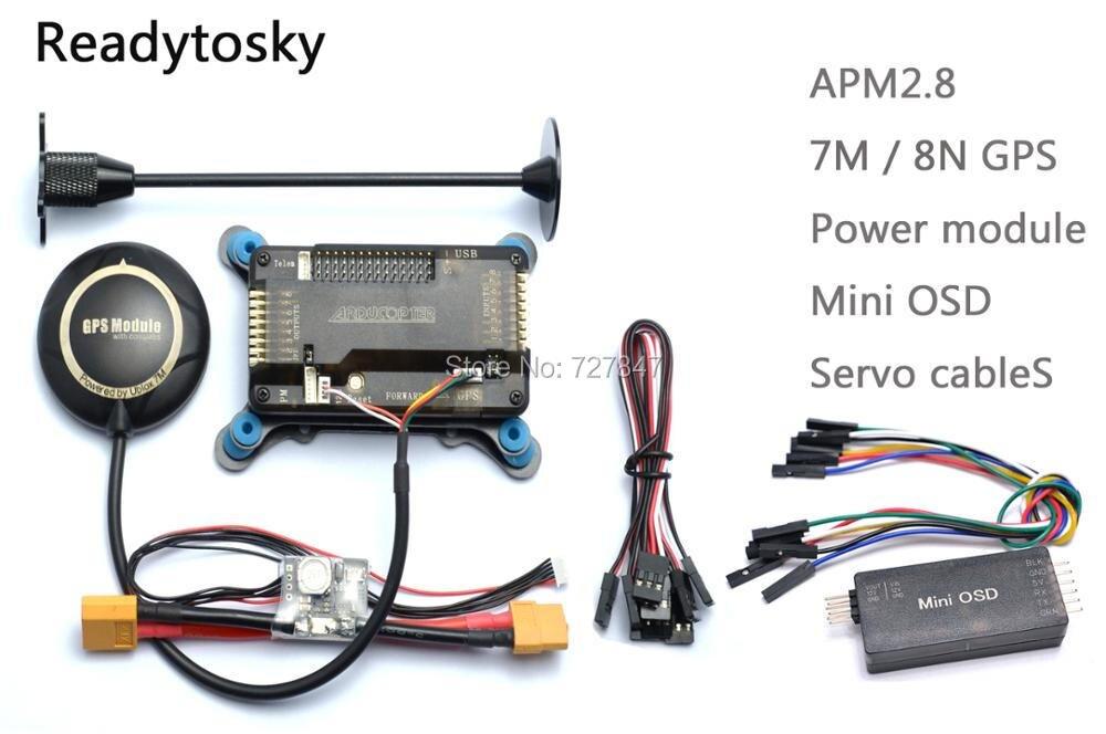 APM APM2.8 Flight Controller Board + Minim OSD + NEO-M8N 8N/7 Mt GPS w/Ständer Halter + Power Module für RC Quadcopter Multicopter