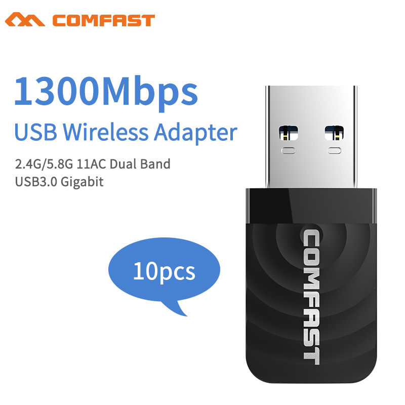10pcs Comfast 1300M 802.11AC Laptop Dual Band 2.4Ghz + 5Ghz High Speed USB 3.0 Wireless/WiFi AC Gigabit Adapter Dongle Adaptor