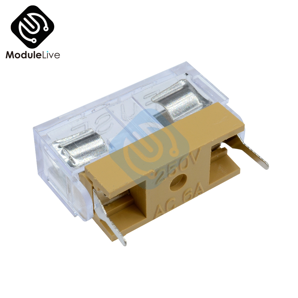 10PCS Panel Mount PCB Fuse Holder Case w Cover 5x20mm With Transparent Cover 5*20 Fuse Holder