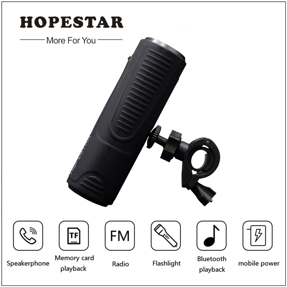 HOPESTAR Bluetooth Speaker Outdoor Waterproof Speaker + Power Bank Bicycle Portable Subwoofer Bass Speaker LED light +Bike Mount