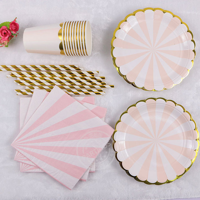 65 pcs 1set pink green paper Striped Tableware Wedding Birthday disposable Plates Cups Straws Napkins party decorations Supplies