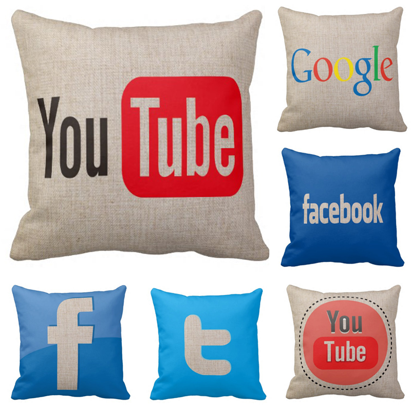 Decorative throw pillows logo for font b Youtube b font facebook twitter google pattern cushion cover