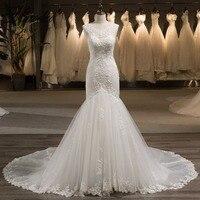 miaoduoSleeveless V Back Beaded Crystal Pearls Mermaid Wedding Dress Vestidos De Noiva Sereia Lace Tulle China Bridal Gowns