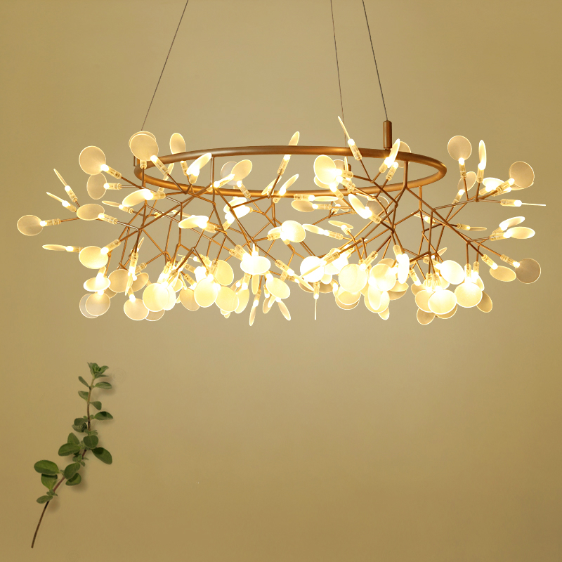 Intellective Modern Norbic Dia80cm Circle Crylic Branch Leaves Led Pendant Light Fixture Creative Home Deco Bronze Iron Glowworm Pendant Lamp Pendant Lights
