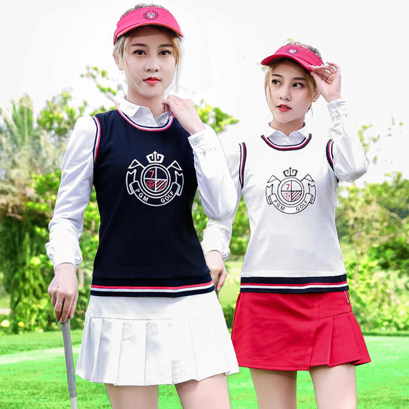 Новая Брендовая женская жилетка для гольфа с логотипом, спортивный жилет для улицы, Женская юбка для гольфа с длинными рукавами, белая футболка с отложным воротником, осенне-зимняя одежда