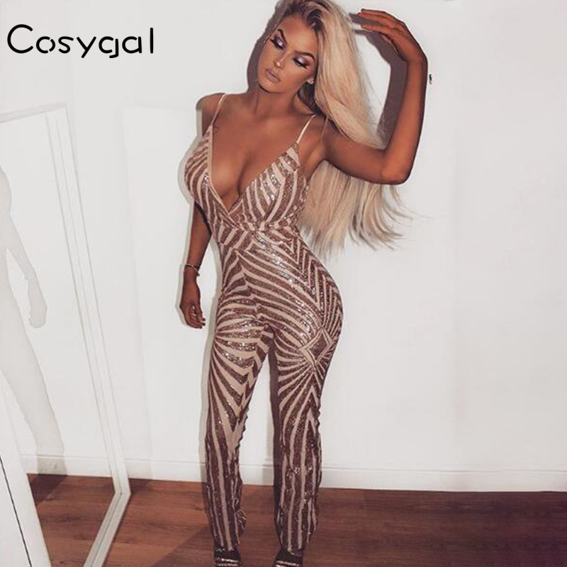 COSYGAL 2018 Gold Sequin Jumpsuits Sexy Women Summer Backless Party Night  Jumpsuits Hip Zipper Female Clubwear c94697897670