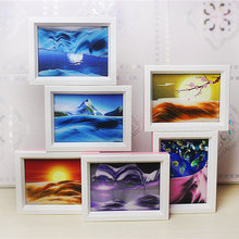 Moving Sand Picture Frame Desktop Home Ornaments Creative Plastic Color Glass Transparent Liquid Changeable Painting Gifts