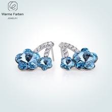 Warme Farben Crystal Stud Earrings 925 Silver Jewelry for Women Zircon Plum blossom Flowers Party Ladies