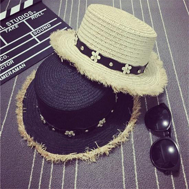 2016 Little Daisy Leather Buckle Rivet Burrs Small Flat Top Lady Beach Hat Summer Sun Hat Casual Patchwork Hats Straw cap Visor