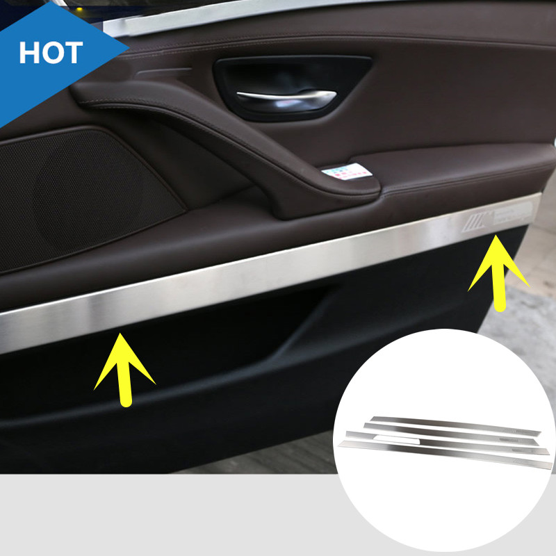 For BMW 5 Series F18  Inner Car Door Moulding Cover Trim 2014-2015 4pcs   ( Only fit for long wheelbase ) interior for bmw x4 2014 2015 abs inner door handle bowl cover trim 4 pcs set