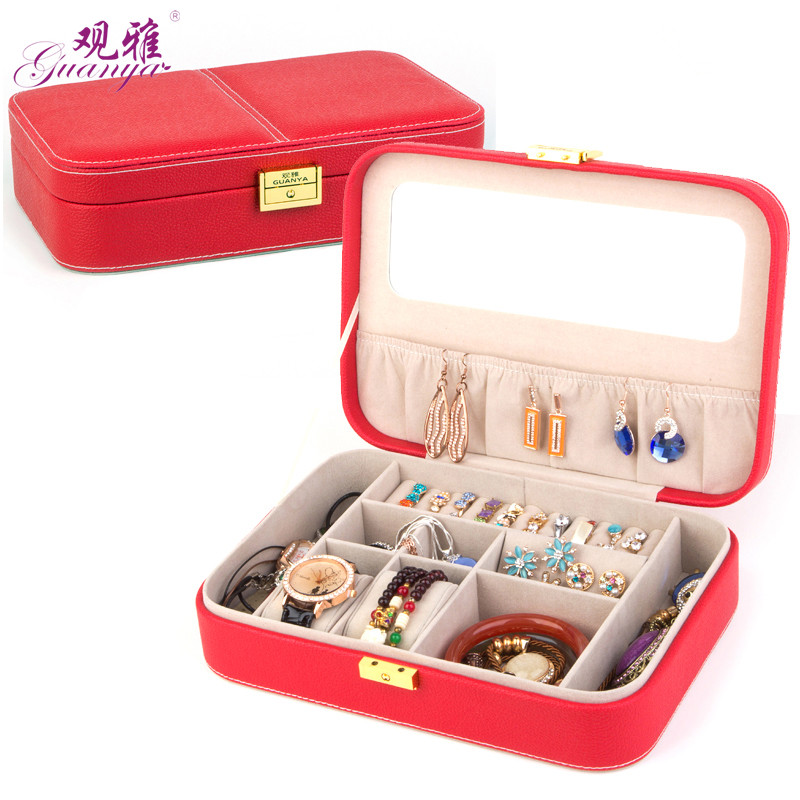 New Rectangle Classical Jewelry Box High Grade Leather Jewel Case Candy Color Makeup Box 2017 Hot Sell Fashion Gift wholesale jewel box